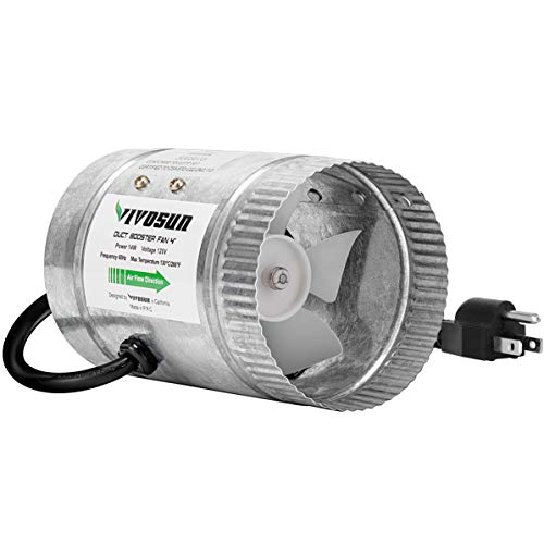 VIVOSUN 4 inch Inline Duct Booster Fan 100 CFM, HVAC Exhaust Intake...