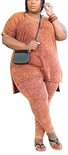 Plus Size 2 Piece Outfits for Women Tie Dye Tracksuit Short Sleeve Slit Split Tops Bodycon Long Pants Loungewear Set