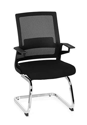 hjh OFFICE 732060 Besucherstuhl INVENTOR V Stoff/Netzrücken Schwarz Stuhl Freischwinger mit Lordosenstütze
