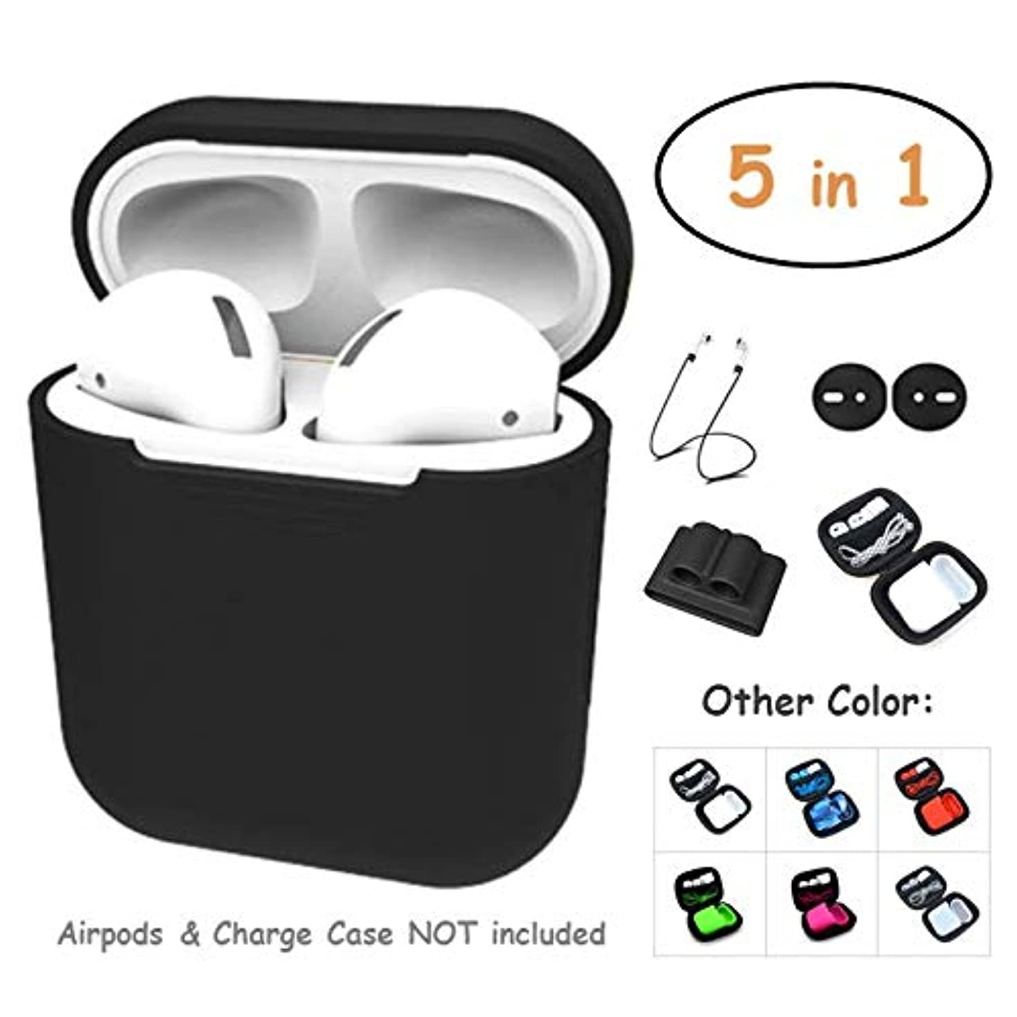 AirPods Case 5 in 1 Airpods Accessories Kits Protective Silicone Cover and Skin for Apple Airpods Charging Case/Airpods Clips/Skin/Tips/Airpods Watch Band Holder by UB (Black)