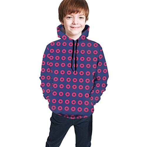 XCNGG Teen Sweater Boy Sweater Girl Sweater Sudadera con Capucha Red Donut Circles On Blue Kids Pullover Hoodie for Boys Girls 3D Novelty Hooded Sweatshirts with Big Pocket
