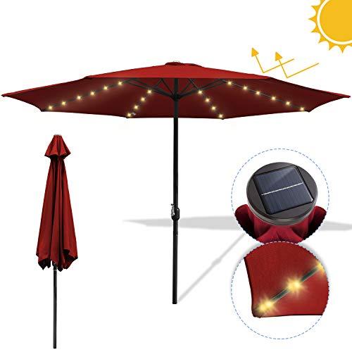 Hengda Ø300cm Sonnenschirm mit 36LEDs Solar-Beleuchtung UV-Schutz UV30+ Rund Marktschirm mit Handkurbel Ampelschirm Terrassenschirm für Balkon, Terrasse & Garten