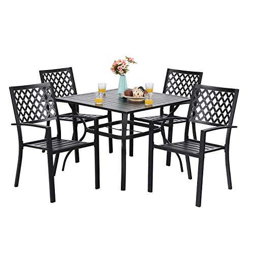 "PHI VILLA 5-Piece Metal Patio Outdoor Table and Chairs Dining Set- 37"" Square Bistro Table and 4 Backyard Garden Chairs, Table with 1.57"" Umbrella Hole"