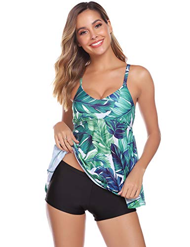 Abollria Damen Tankini Set Bauchweg Zweiteiler Badeanzug Elegant Monokini mit Verstellbare Träger Bademode für Urlaub