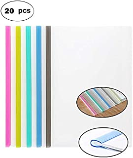 Plastic File Folder Sliding Bar Report Covers (with Clear U-Type Sliding Bar), Transparent Resume Presentation File Folders Organizer Binder for A4 Size Paper, 5 Color 20 Pieces