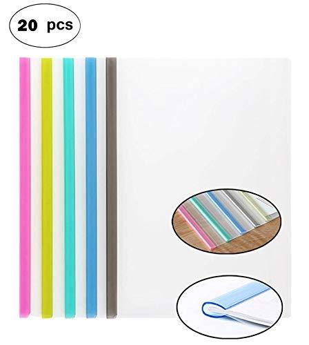 Transparent Plastic File Folder Sliding Bar Report Covers (with U-Type Sliding Bar,40 Sheet Cap), Transparent Resume Presentation File Folders Organizer Binder for A4 Size Paper, 5 Color 20 Pieces