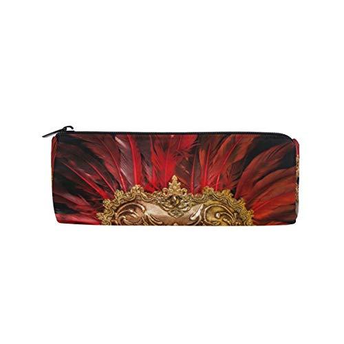 RGFDF Halloween rote Maske zylindrische Bleistiftetui Stifttasche, multifunktionale Schreibwaren Tasche Reißverschlusstasche Student Zip Bleistifthalter Tasche Geschenk Reise Make-up Tasche