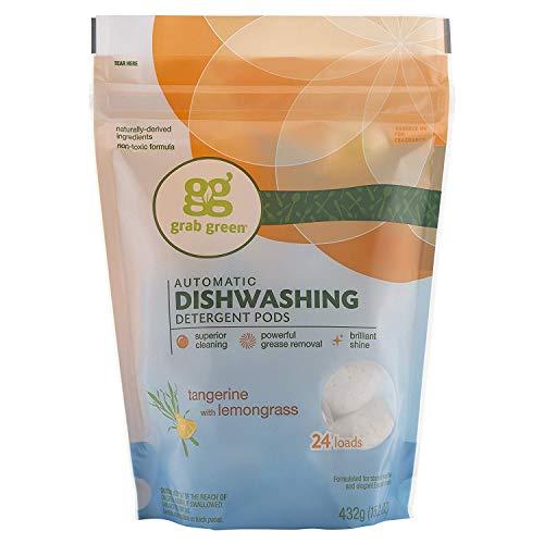 GrabGreen Automatic Dishwashing Detergent Tangerine with Lemongrass - 24 per Pack - 6 Packs per case.