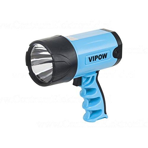 VIPOW Projecteur à main 3 W CREE LED, phare de recherche de 150 lm, bloc d'alimentation, Chargeur de voiture, plastique, bleu, 17 x 15 x 8 cm