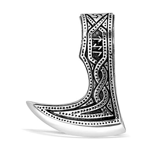 WithLoveSilver 925 Sterling Silver Viking Axe Amulet Slavic Celtic Triquetra Mjolnir Runes Double Sided Pendant