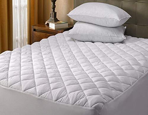 Copri-materasso trapuntato, copertura extra profonda - 40cm - Bordo in tessuto, taglie secondo standard britannici - singolo, matrimoniale, super king - 1,2m, 3/4, Coprimaterasso trapuntato , Coppia
