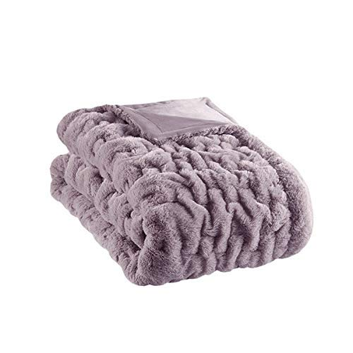 Madison Park Ruched Faux Fur Luxury Throw Lavender 5060 Premium Soft Cozy Brushed Long Faux Fur For Bed, Coach or Sofa