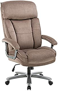 CLATINA Ergonomic Big & Tall Executive Office Chair with Upholstered Swivel 400lbs High Capacity Adjustable Height Thick Padding Headrest and Armrest for Home Office BIFMA Certified Beige