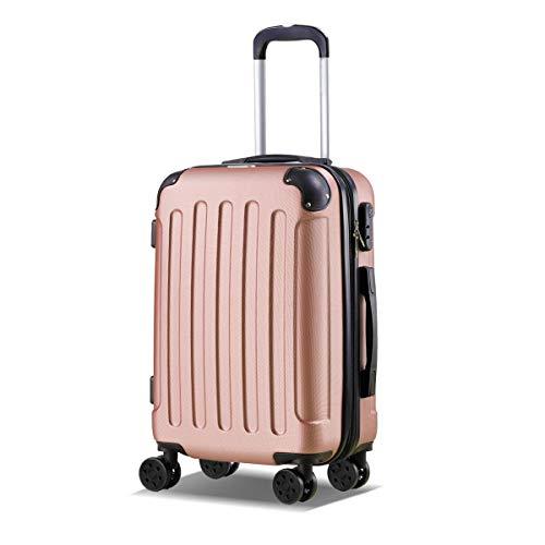 T-LoVendo TLVMA-ROSE GOLD Maleta Pequeña de Cabina Equipaje de Mano Trolley 4 Ruedas Viaje Semirígida Color Oro Rosa