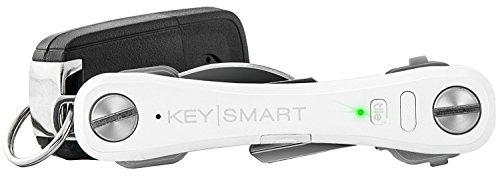KeySmart Pro | Porte-Clés Compact avec Lampe LED et Géolocalisation Tile permettant de Localiser Clés ou Téléphone Égarés via GPS (jusqu'à 10 clés, Blanc)