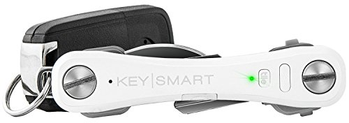 KeySmart Pro - Key Holder w LED & Tile Smart Technology (up to 10 Keys, White)