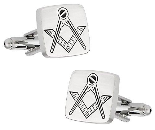 Cuff-Daddy Silver Tone Freemason Masonic Cufflinks with Presentation Box