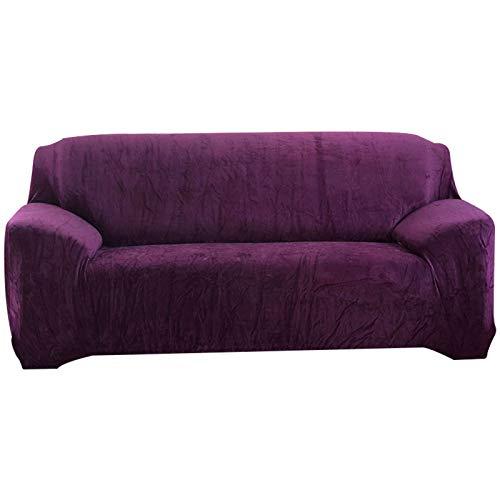 HALOUK Funda de Sofa de Felpa Elástica,Funda para Sofá de 3 Plazas 1 Pieza Antideslizante Protector de Muebles con Fondo Elástico para Sala de Estar-púrpura-3 Plaza (190-230cm)
