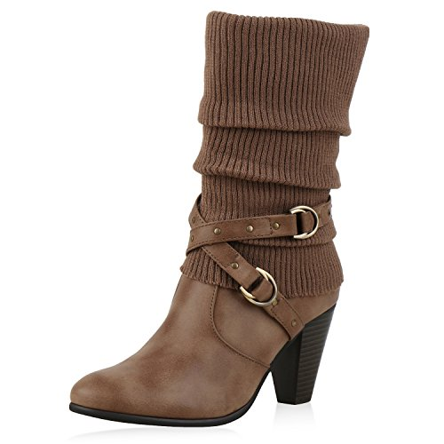 SCARPE VITA Klassische Damen Stiefel Gefütterte High Heel Boots Stulpen Nieten 165749 Khaki Gefüttert 37