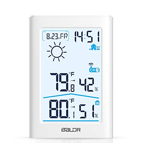 Weather Station, Indoor Outdoor Thermometer Hygrometer with Remote Sensor, Digital Wireless Temperature and Humidity Monitor with Weather Forecast, Date/Time Display, Alarm Clock, Backlight
