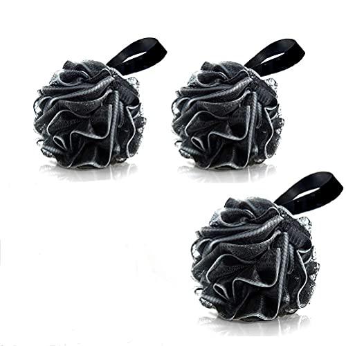 XOYZUU Esponja de ducha para ducha, paquete de 3 esponjas de baño de color negro, para ducha, puf, bola de bambú natural, malla de carbón de leña, grande, cómoda y suave
