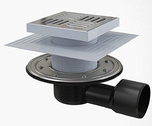 Bodenablauf Waagerecht 150X150 Duschablauf Badablauf Edelstahl begehbare Dusche DN 50 Siphon Geruchsverschluss