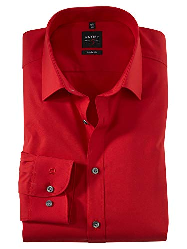 Herren Hemd \'Level Five Body Fit\' Langarm, rot, Gr. 43 (XL), Kragenweite 17