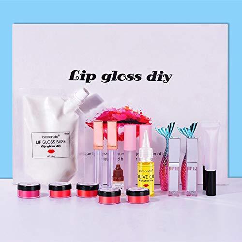 Sliveal Lipgloss Selber Machen Set, DIY Natural Lip Plumper Lipgloss Lippenstifte Liquid Lipstick Set Matte/Pflegend Lippenstifte Lipgloss Make-up Kit positive