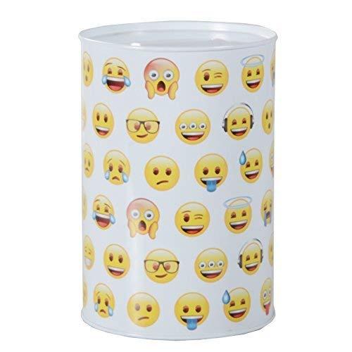 DRULINE Smiley Spardose Emoji Sparbüchse Emoticon Kinderspardose Sparschwein Metall Weiß 4 Stück