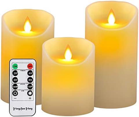YongHaoYang Bougies LEDBougies Sans FlammeLot de 3 10 125 15cm Avec Vacillement des Flammes Tr 232;s R 233;aliste T 233;l 233;commande Avec 10 Menus De Fonction Minuterie de 24 Heures