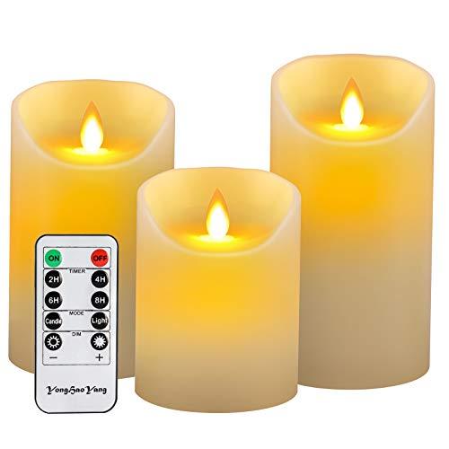 YongHaoYang Bougies LED,Bougies Sans Flamme.Lot de 3 (10 12.5 15cm), Avec Vacillement des Flammes Très Réaliste, Télécommande Avec 10 Menus De Fonction, Minuterie de 24 Heures