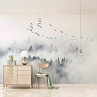MAZF カスタム任意のサイズの壁画の壁紙モダンでシンプルな鳥の松の森の雲写真の壁の絵リビングルームの寝室の家の装飾フレスコ画250cm(B)x 200 cm(H)