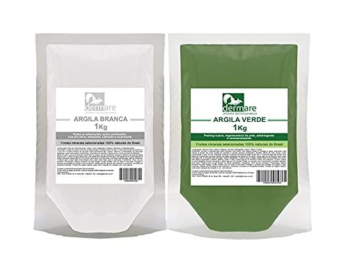 Kit Argila Branca E Argila Verde 1kg Cada - Dermare