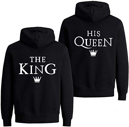 Couple Pärchen Partner King Queen Pullover Hoodie Kapuzenpullover (Schwarz Damen M)