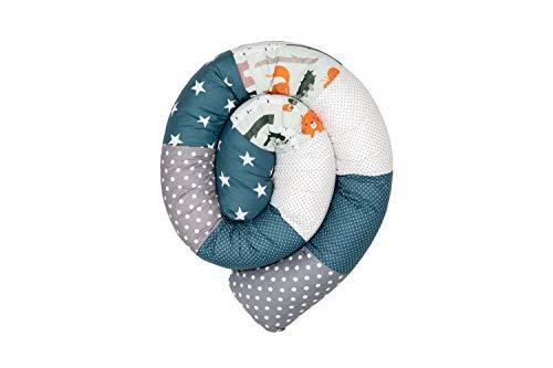 ULLENBOOM ® Baby Bettschlange 200x13 cm Waldtiere Petrol (Made in EU) - Nestchenschlange für das Babybett, Bezug: 100% ÖkoTex Baumwolle, Bettrolle zur Bettumrandung im Kinderbett, Motiv: Sterne