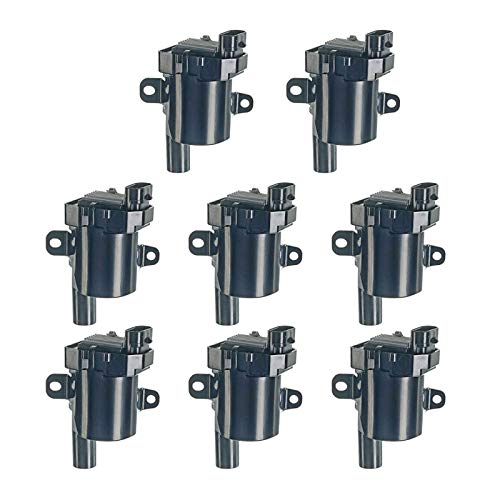 A-Premium Engine Ignition Coils Packs (with Round Type Coil) Compatible with Chevrolet Silverado Express Suburban Tahoe GMC Cadillac Hummer Isuzu Buick 8-PC Set