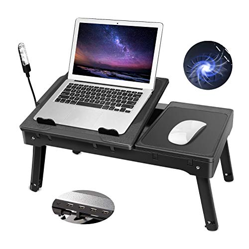 Moclever Laptop Table for Bed-Multi-Functional Laptop Bed Table Tray with Internal Cooling Fan & 2 Independent Laptop Stands-Foldable & 3 Different Height Laptop Desk-LED Lamp-4 Port USB