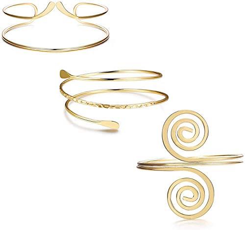 Finrezio 3 Piezas Moda Brazo Abierto Superior Brazalete De Oro De La Oro Brazalete Mujeres En Espiral De La Serpiente Boho Chic Brazalete Punky