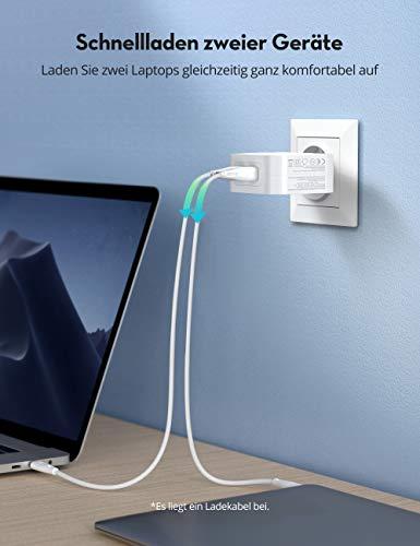 RAVPower USB C Ladegerät PD 90W USB C Netzteil mit GaN Tech, 2 Port PD Ladegerät USB C für MacBook Pro iPad Pro, Google Pixel, Nintendo Switch, iPhone 11/12 Pro Max XS XR, Galaxy und mehr