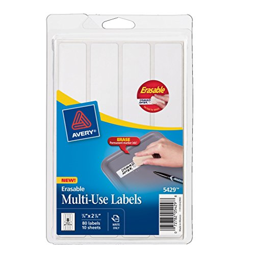 Avery Erasable Labels, Laser/InkJet.875 x 2.875 inches, White, Permanent, Pack of 80 (5429)