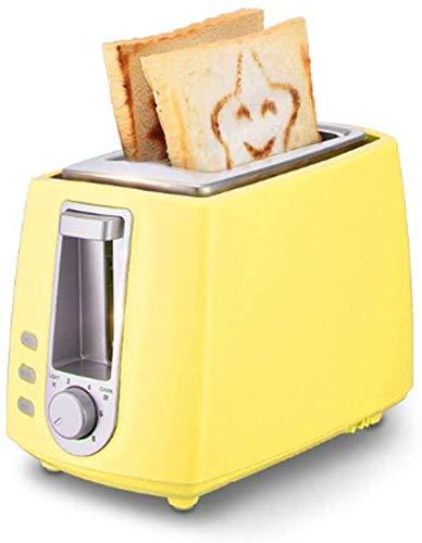 2 Slice Toaster función Panorámica ranuras de descongelación 680W pan Tostadora Con 6 variable Browning azul de control (Tostadora),Amarillo