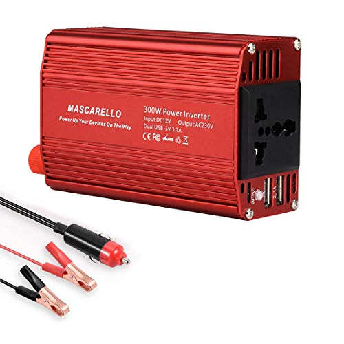 300W Power Inverter DC 12V to 110V AC with 3.2A Dual USB Charging Port