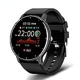 Mibiuzst Orologio intelligente da donna, con schermo touch screen completo, orologio sportivo per fitness, IP67 impermeabile, Bluetooth, adatto per Android iOS (silicone nero)