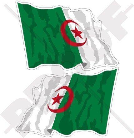 ALGERIA Algerische Wehende Fahne 120mm Auto & Motorrad Aufkleber, x2 Vinyl Stickers