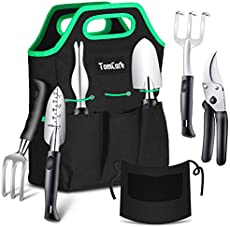 TomCare Garden Tools Set 7 Piece Gardening Tools Gardening kit Tool Sets with Heavy Duty Pruning Shears Comfortable Non-Slip Handle and Durable Storage Tote Bag - Garden Gifts for Gardeners Men Women