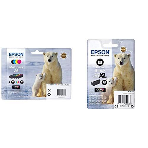 Epson C13T26164010 - Pack de 4 Cartuchos, Multiples + C13T26314012 - Cartucho de tóner Adecuado para XP600, Color Foto Negro