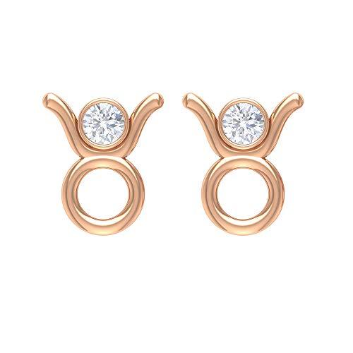 Joyas de diamantes de 1/4 quilates con forma de taurus de zodíaco, con parte trasera atornillada