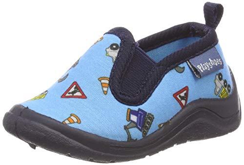 Playshoes Zapatillas Obras, Pantuflas Unisex Niños, Azul (Blau 7), 22/23 EU