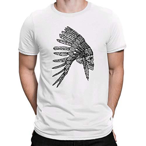 Chieftain Skull, Camiseta para Hombre Manga Corta Hombre Camisetas Cuello Redondo Moda Camisetas