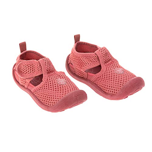 LÄSSIG Baby Kinder Badeschuhe Strandschuhe Schwimmschuhe Atmungsaktiv Anti-Rutsch Sohle Klettverschluss/Beach Sandals Coral, Größe:25, orange, 180 g
